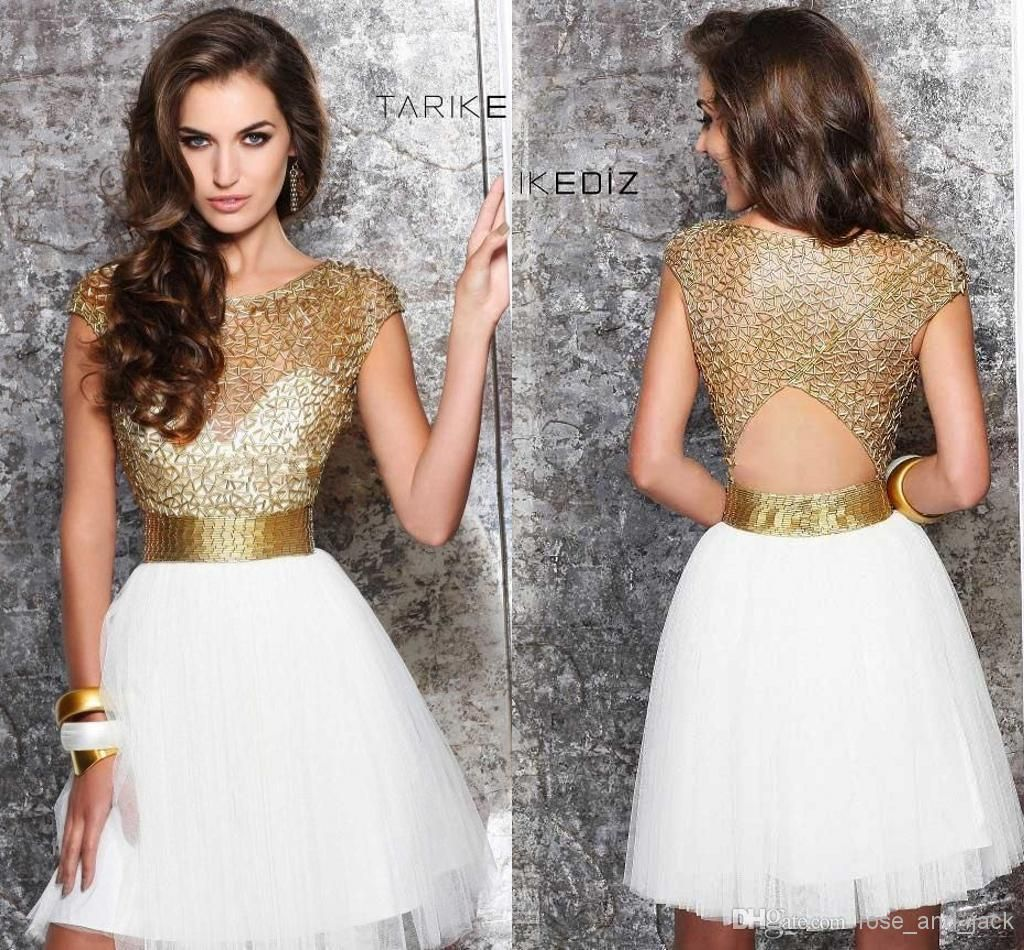 Gold and white 2014 sheer homecoming dresses jewel short 8th grade ...