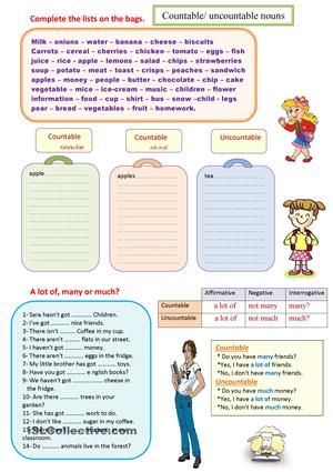 Countable And Uncountable Nouns A Lot Of Much Or Many Worksheet Free Esl Printable Worksheets Made By Te Uncountable Nouns English Grammar Nouns Worksheet