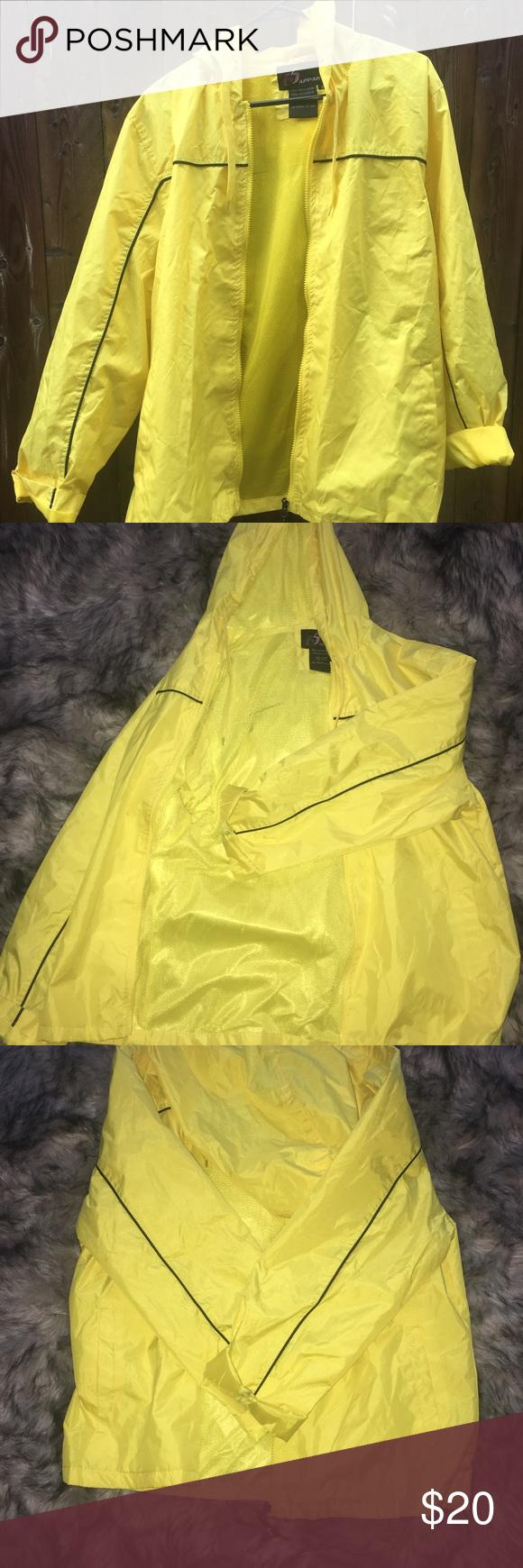 Yellow Wind Breaker Rain Coat Raincoat Windbreaker Coat [ 1740 x 580 Pixel ]