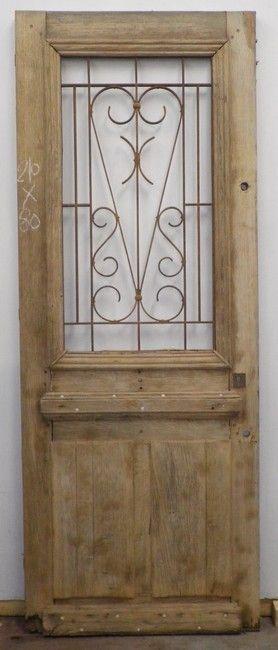 E1va1 porte d 39 entree un vantail en chene porte for Porte exterieure bois vitree