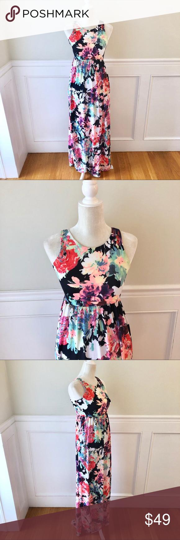 Bellamie Watercolor Floral Maxi Dress Pockets S Floral Maxi Dress Pocket Dress Floral Maxi [ 1740 x 580 Pixel ]