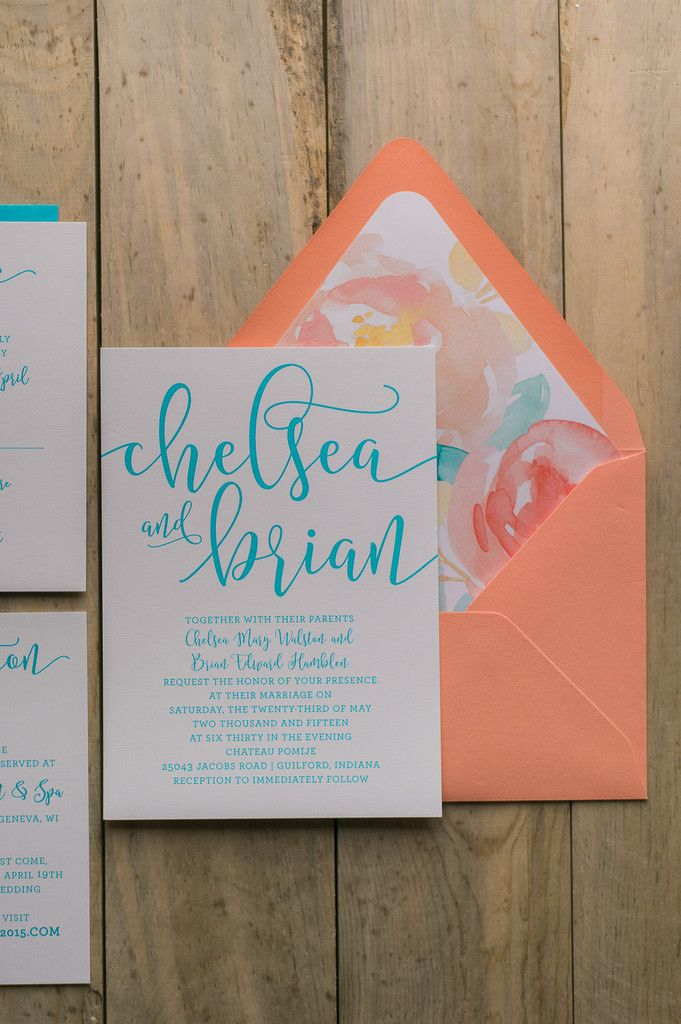 Chelsea Suite Floral Package Watercolor Wedding Invitation Coral