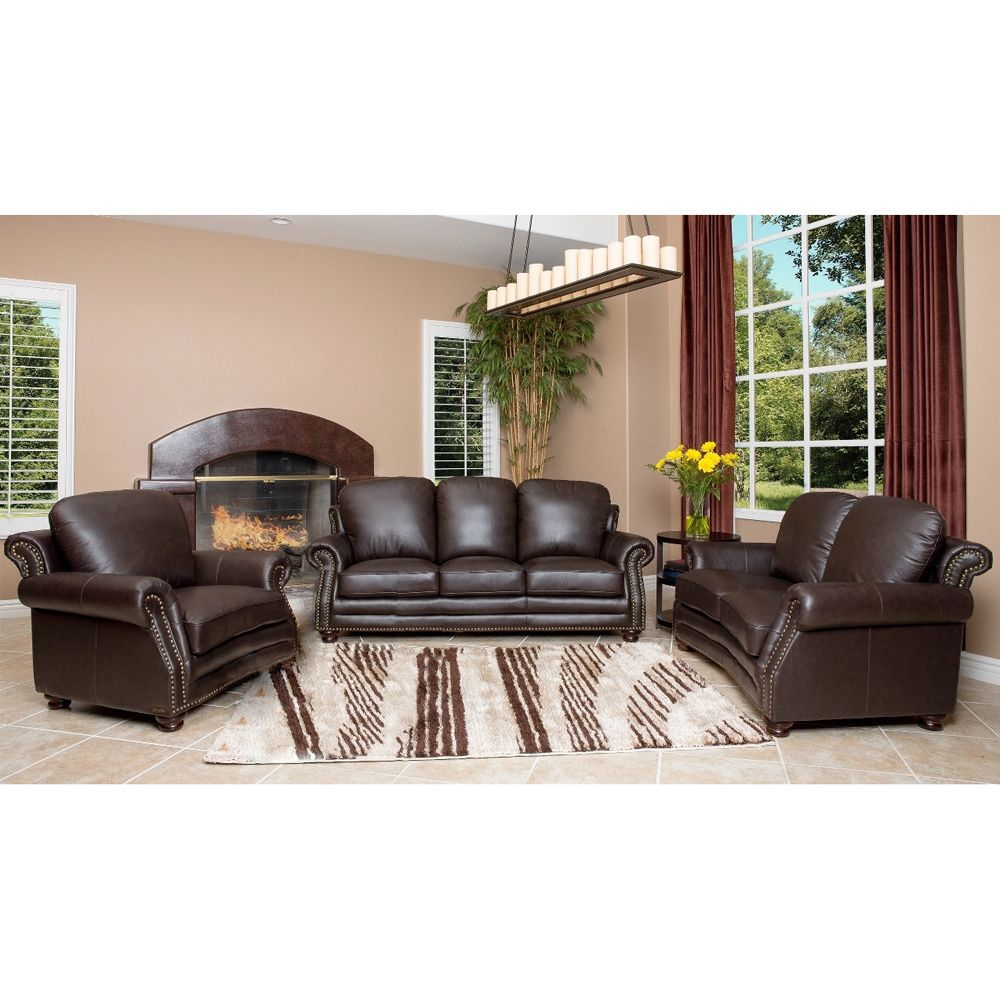 Home Furniture Overstock Living Room Furniture Sets abbyson living maxwell top grain leather sofa loveseat and room armchair set overstock com