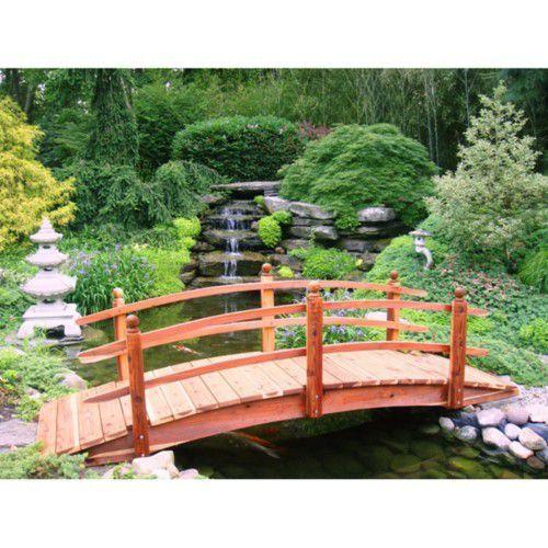 Best Redwood 10 Ft Curved Rail Garden Bridge Garden Bridge 640 x 480