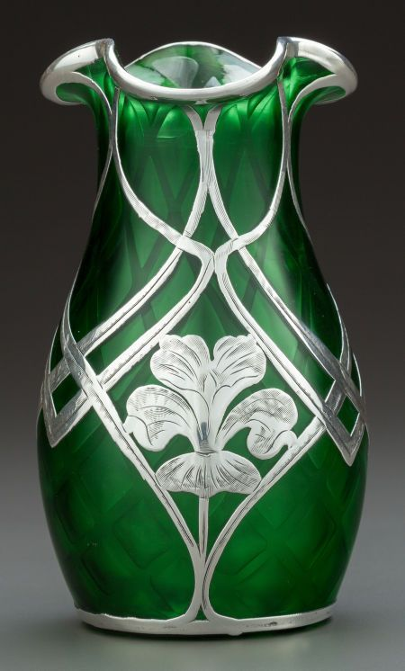 C1900 Quilted Green Glass Vase With Silver Overlay By Steuben