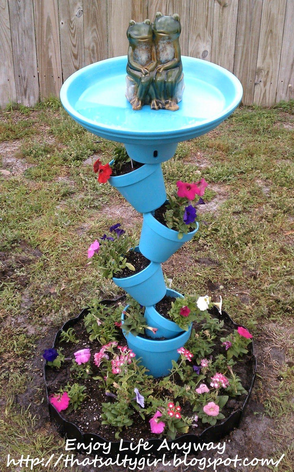 Enjoy Life Anyway Keeping Soil In Tilted Pots Bird Bath Planter Diy Bird Bath Bird Bath