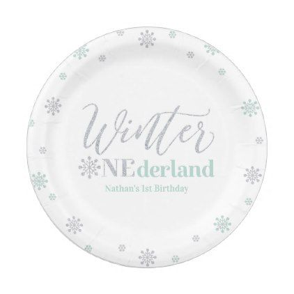 Photo of Silver & Mint Winter Onederland 1st Birthday Party Paper Plate | Zazzle.com