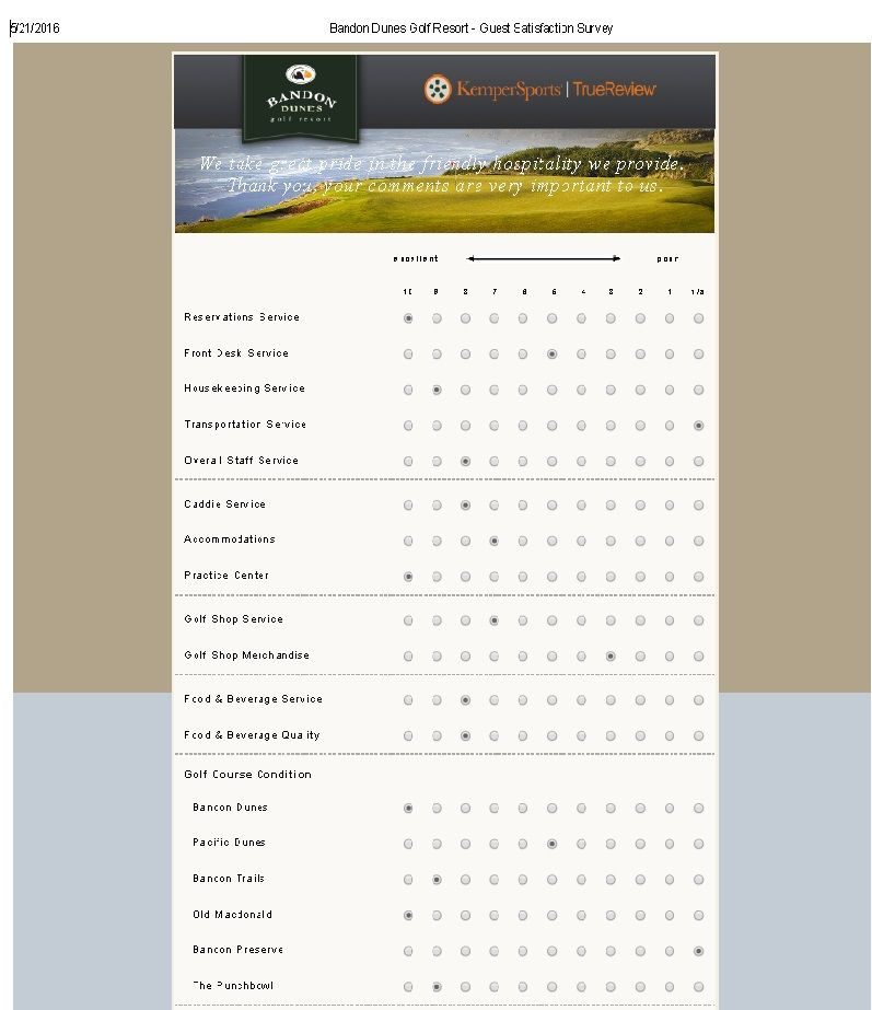 Bandon Dunes Golf Resort - Guest Satisfaction Survey - Survey - sample client satisfaction survey