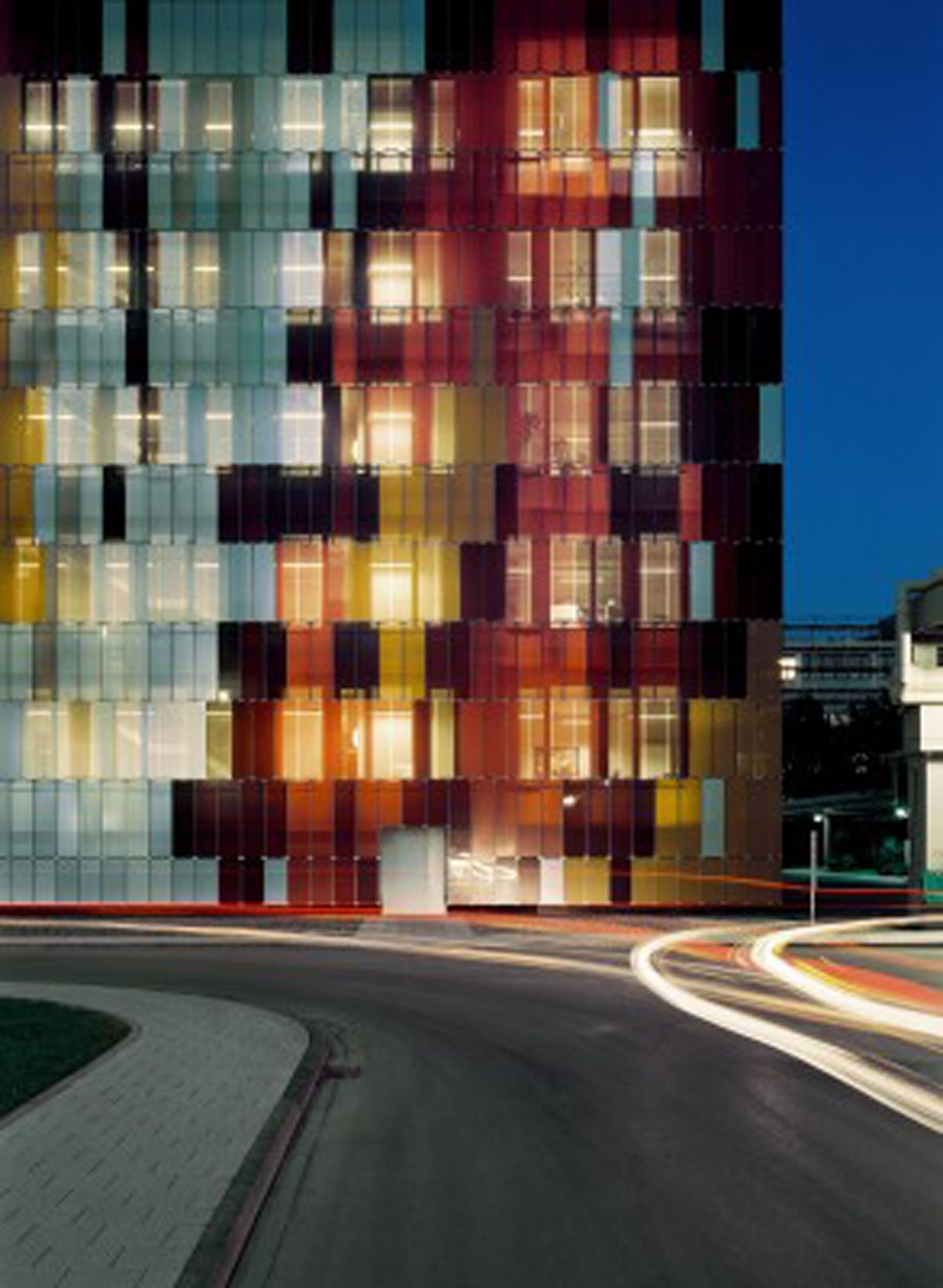 Glass Louver Facade : Colorful façade with vertical glass louvers by s h