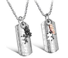 His & Hers Matching Set Titanium Couple Pendant Necklace Korean Love Style in a Gift Box (One Pair) (Hers)