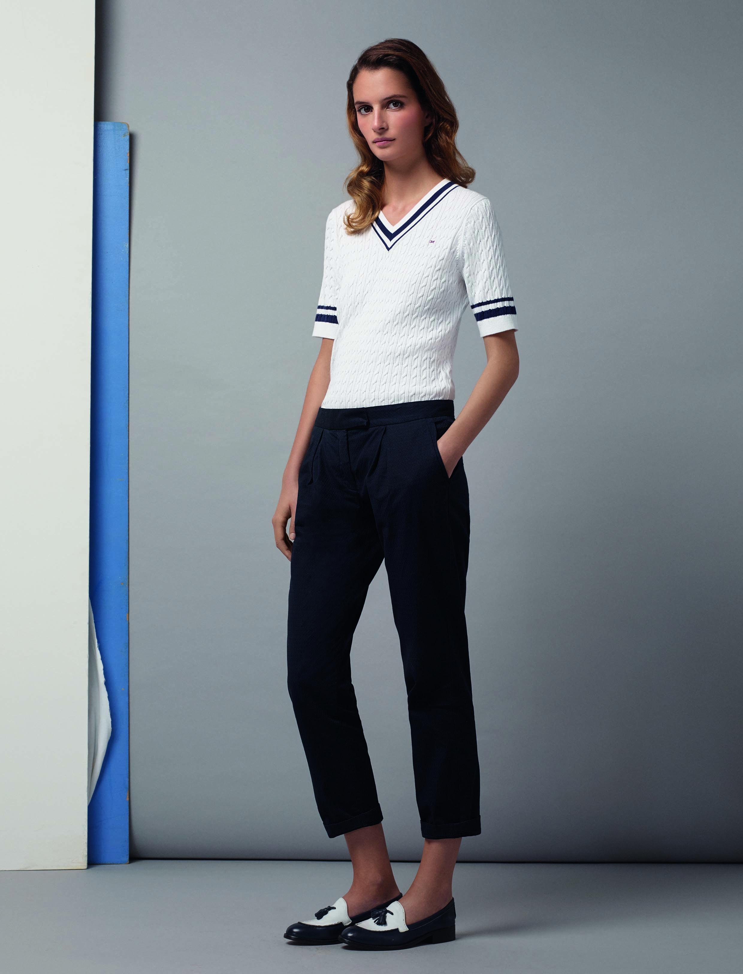 Eden Park - Look Femme Woman - Pull col V manches courtes en coton, pantalon a55f2e73b6c2