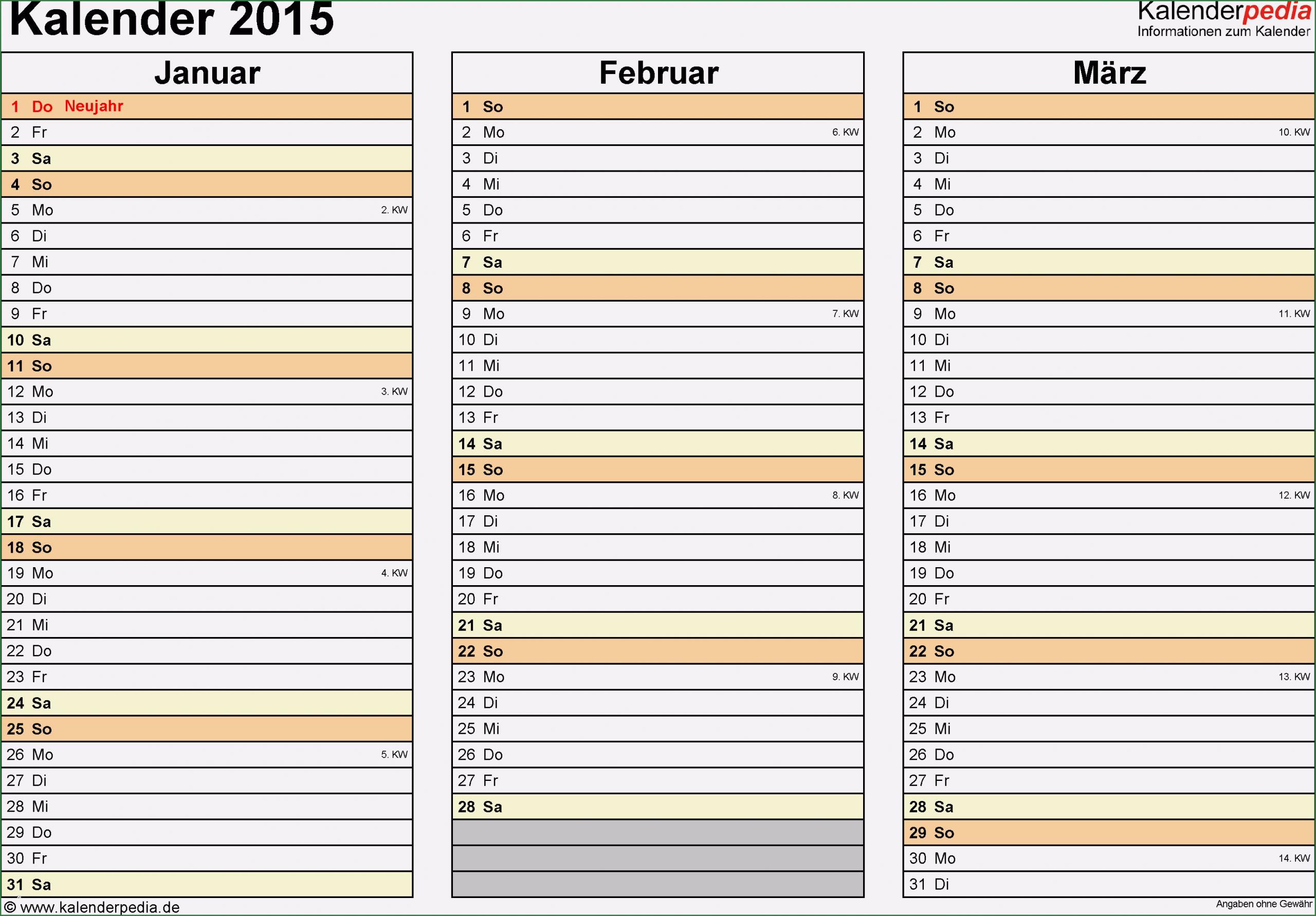 Phänomenal Kalender 2015 Excel Vorlage Von 2020 in 2020