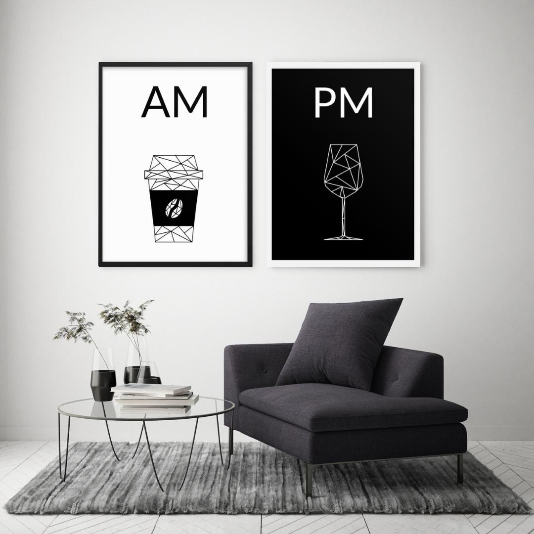Kaffee und Wein Poster mit Rahmen in 2020