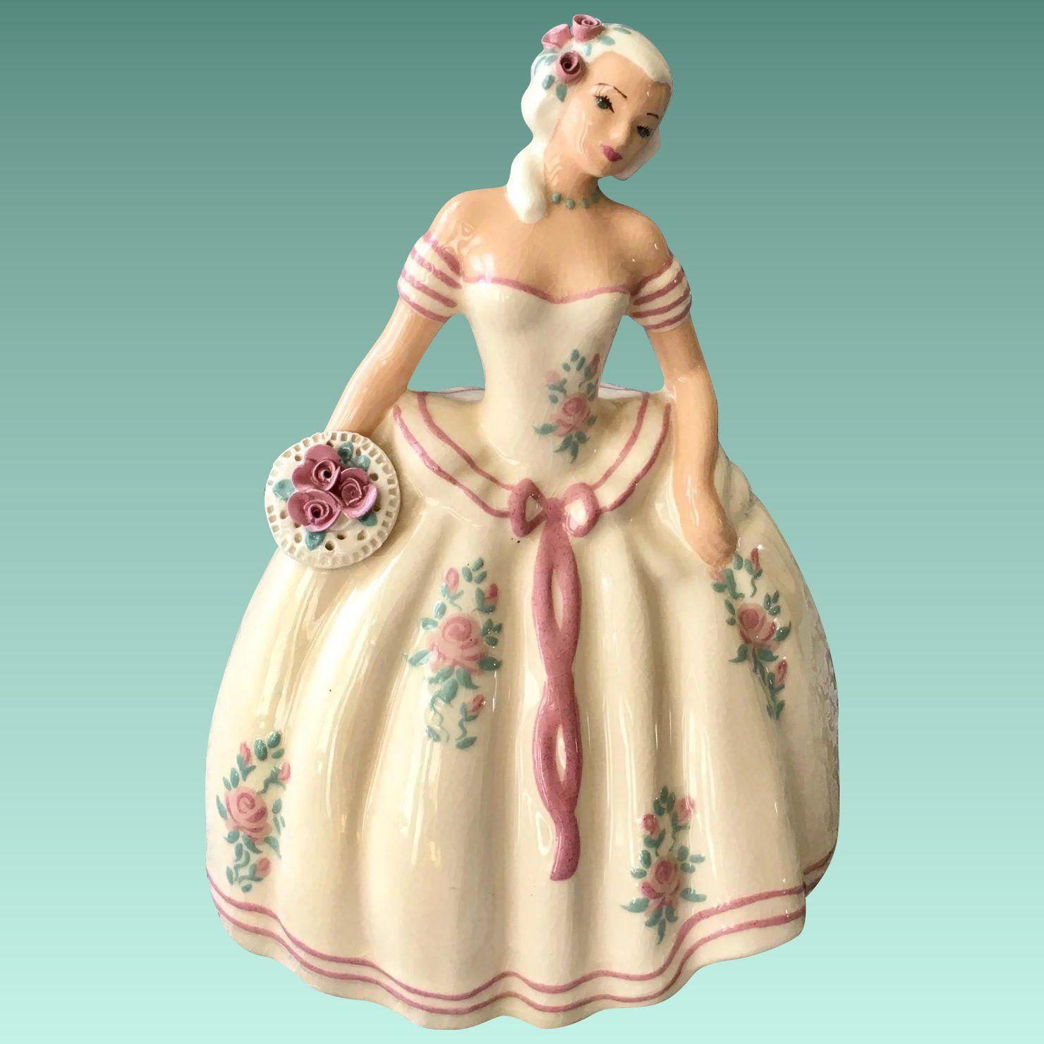 S-Quire Ceramics by Zaida Figurine Lady in White Gown 1940s ...