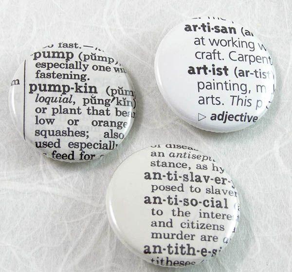 Custom Dictionary Pinback Button