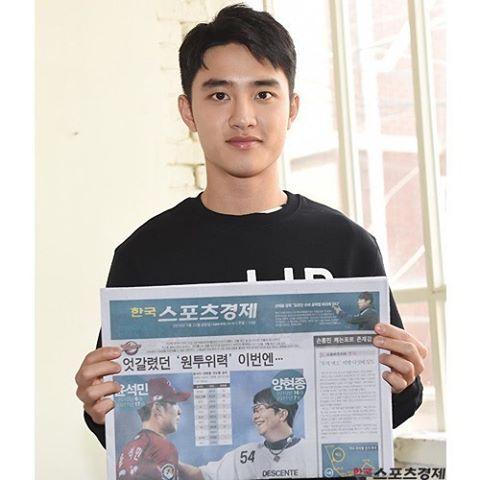 "D.O - 160211 Korea Sports Economy's Instagram update: ""순정남으로 변신한 EXO 디오"" Credit: sporbiz."