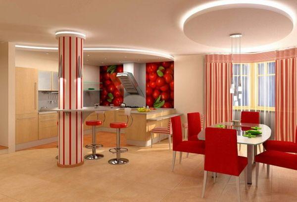 Deckengestaltung Beleuchtung Eingebaut Wohnzimmer Hängedecken