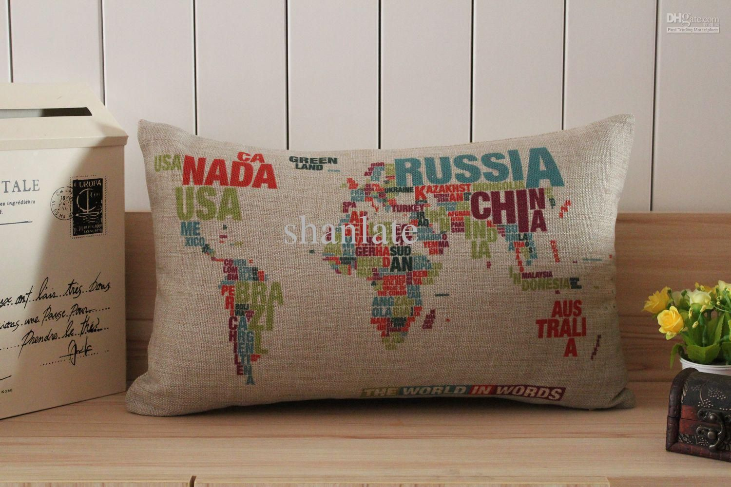 Wholesale Novelty Words World Map Pattern Cushion Cover Decorative Throw Pillow Case Free Shipping 1 Map Pillow Linen Pillow Cases Decorative Cushion Covers