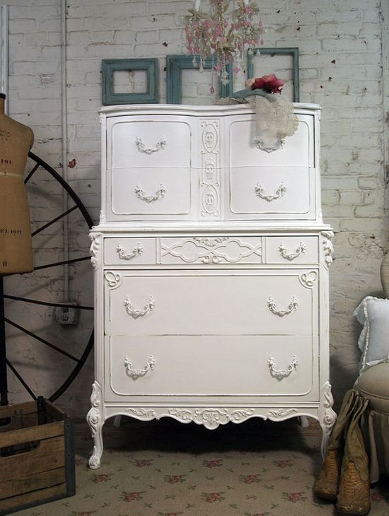 Vintage Painted Cottage Shabby White French Dresser CH