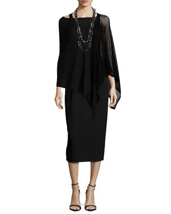 Washable Wool-Stitch Poncho & Sleeveless Jersey Long Dress, Women\'s by Eileen Fisher at Neiman Marcus.