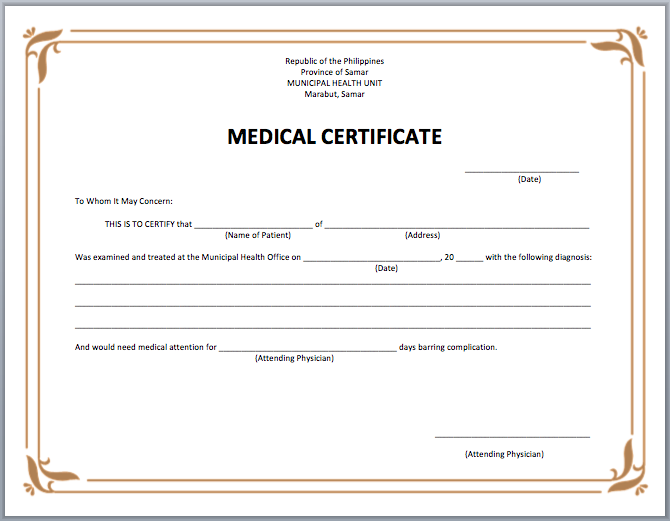 Free Certificate Templates For Word 21 Medical Certificate Templates  Free Word & Pdf  Office Work .