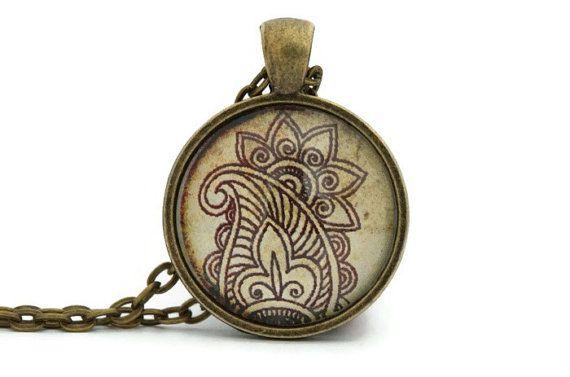 #Paisley pendant #Yoga necklace Henna print canada gifts by Ahkriti, $15.50