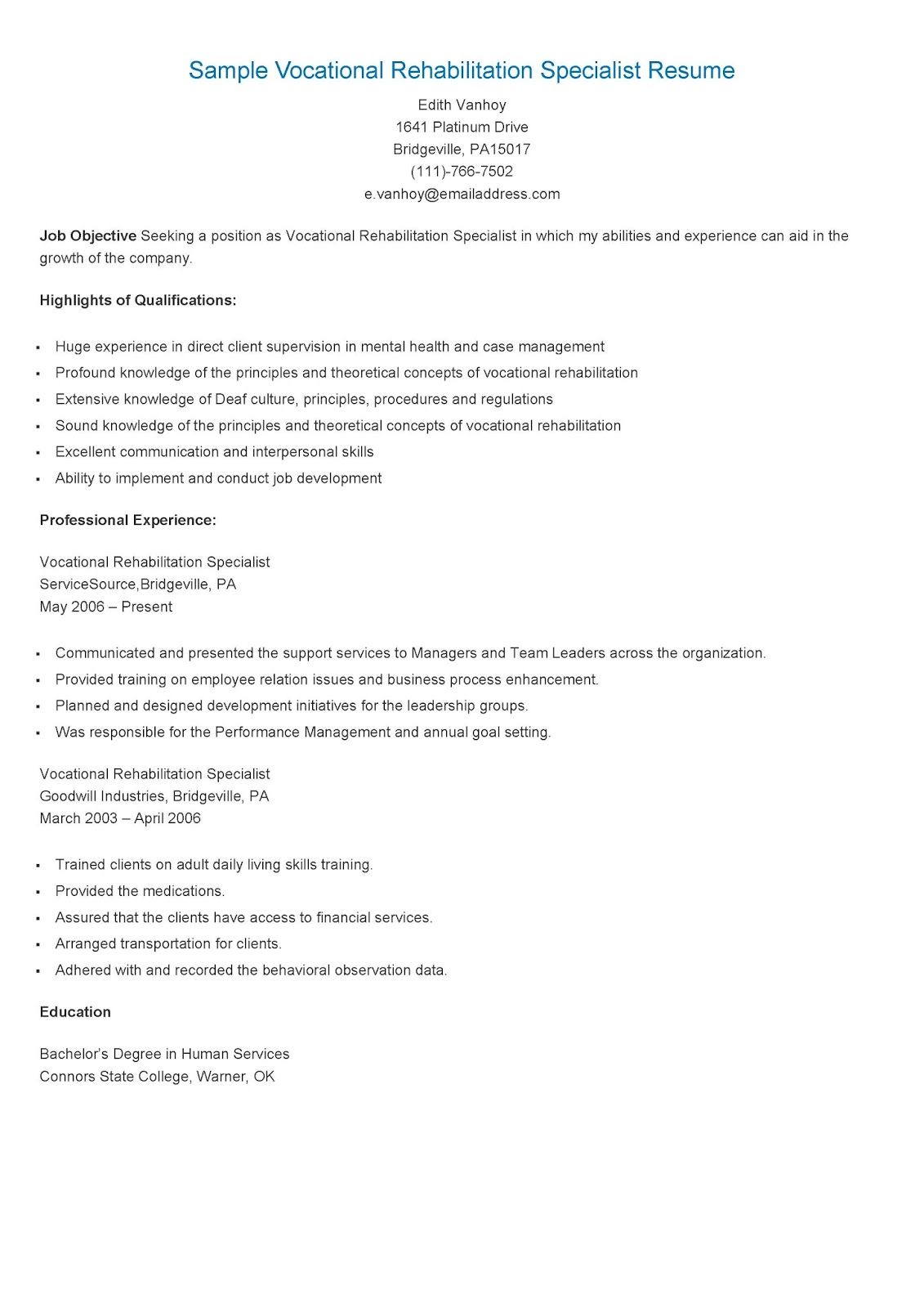 Sample Vocational Rehabilitation Specialist Resume Resame