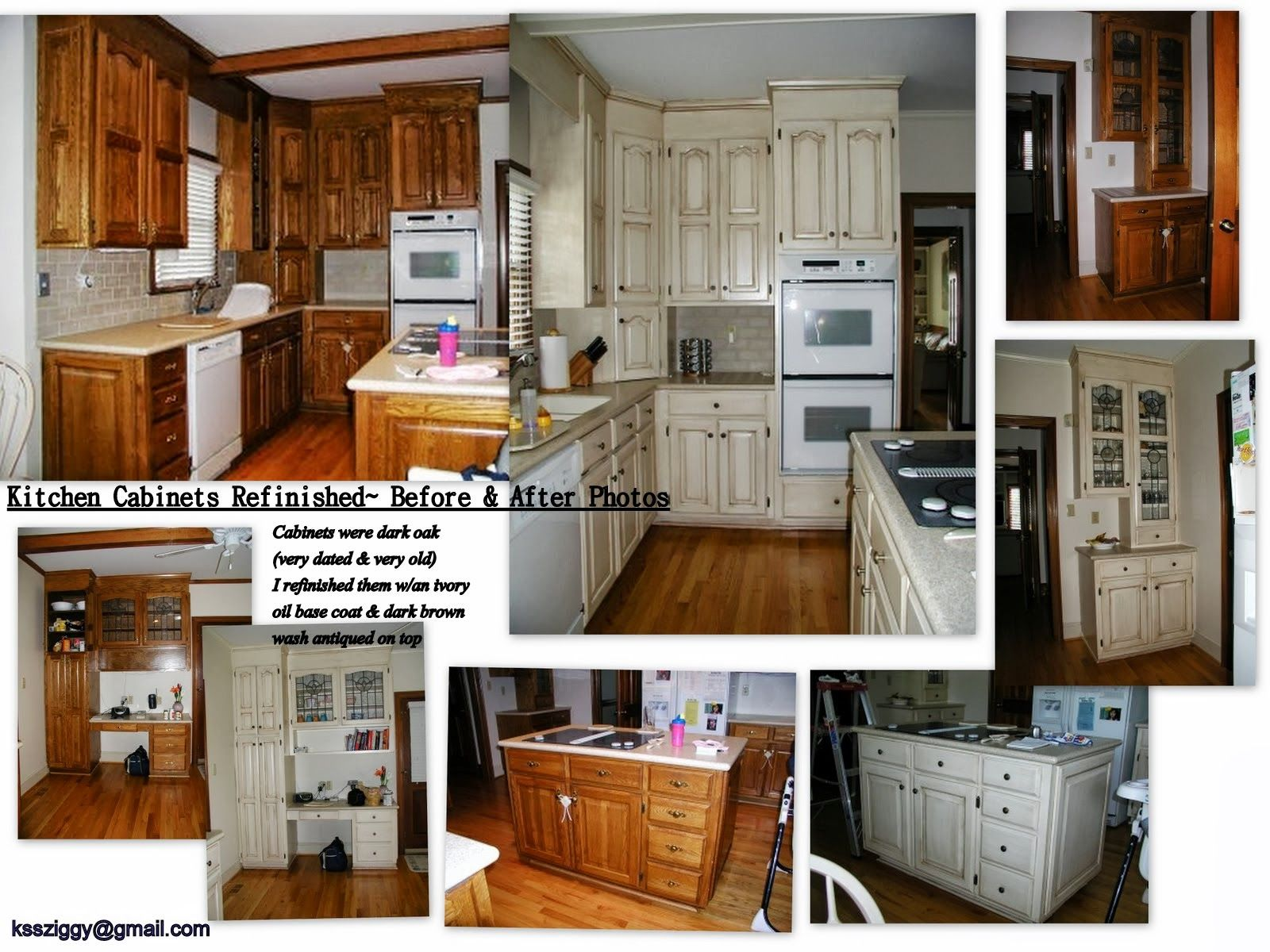 kitchen cabinet refinish job i did - before & after photos. cabinets