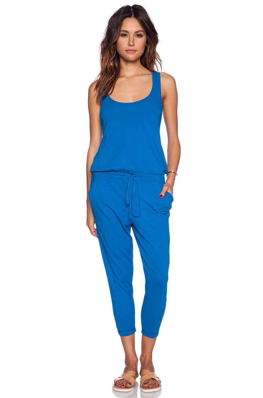 Bobi Supreme Jersey Jumpsuit In Azure Revolve My Style