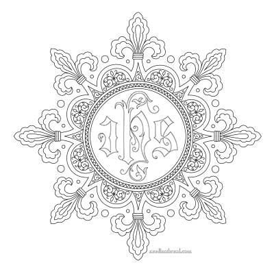 Fleur De Lis Frame Free Hand Embroidery Pattern Hand Embroidery