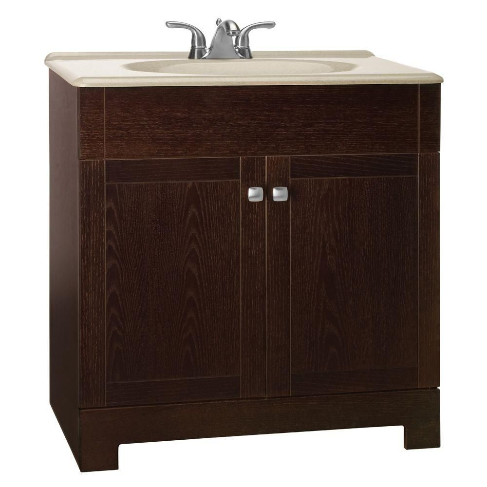 Glacier Bay Renditions 31 In W Bath Vanity In Java Oak With Solid Surface Vanity Top In Wheat With Wheat Sink Ppfsjvo30y The Home Depot Bathroom Vanity Combo Vanity Combos