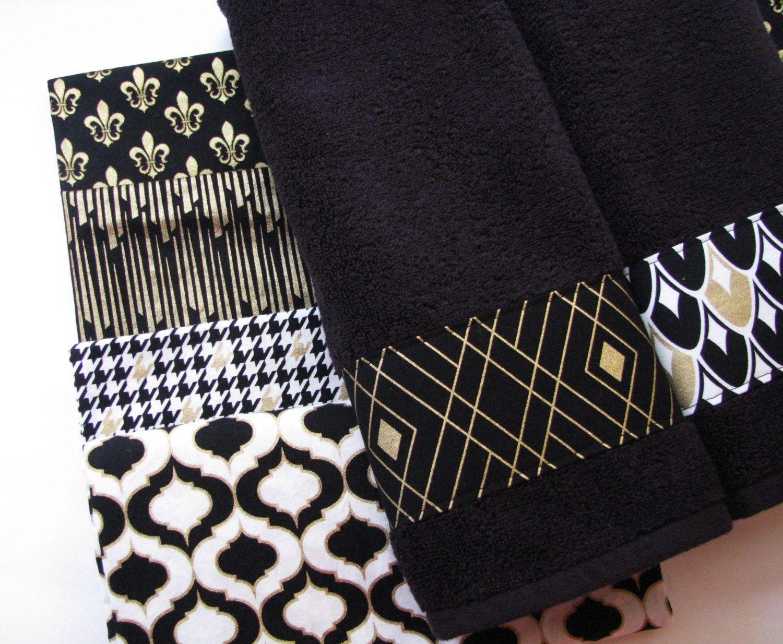 Black Gold Towels Custom Bathroom Hand And Quatrefoil