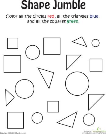 Shape Jumble Kindergarten math worksheets, Shapes