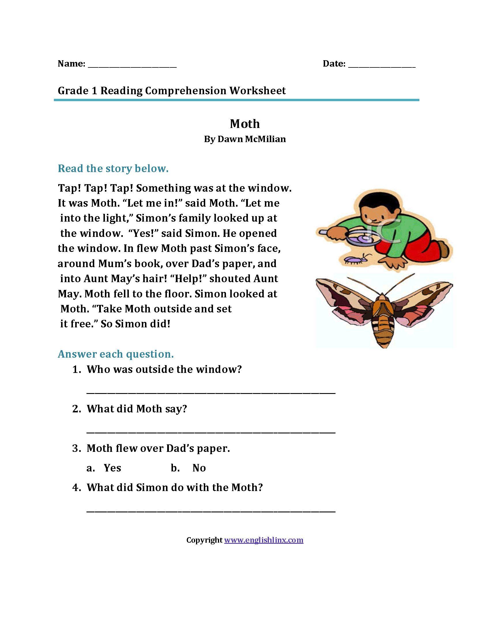 Reading Worksheets For 1st Grade In