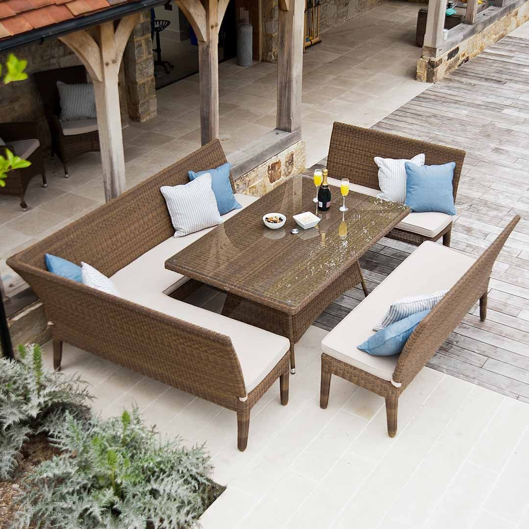 Rattan garden bench dining set in weatherproof wicker for Patio dining sets with bench seating