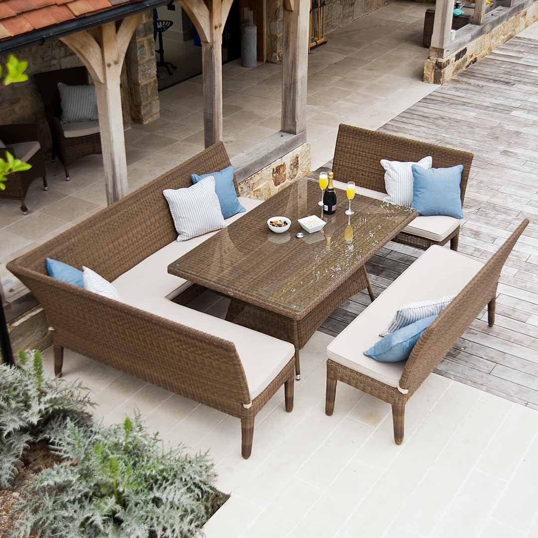 Rattan Garden Bench Dining Set In Weatherproof Wicker