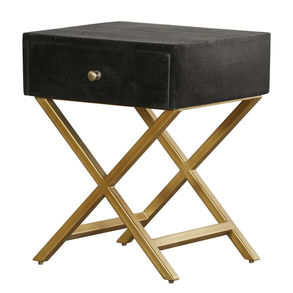 Black And Brass End Table Modern Eclectic In 2020 End Tables End Tables With Drawers Side Table With Drawer