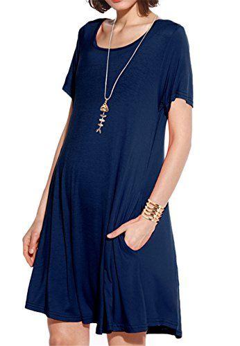 4644c3a958e3f JollieLovin Women's Pockets Casual Swing Loose T-Shirt Dress (Navy Blue, 2X)
