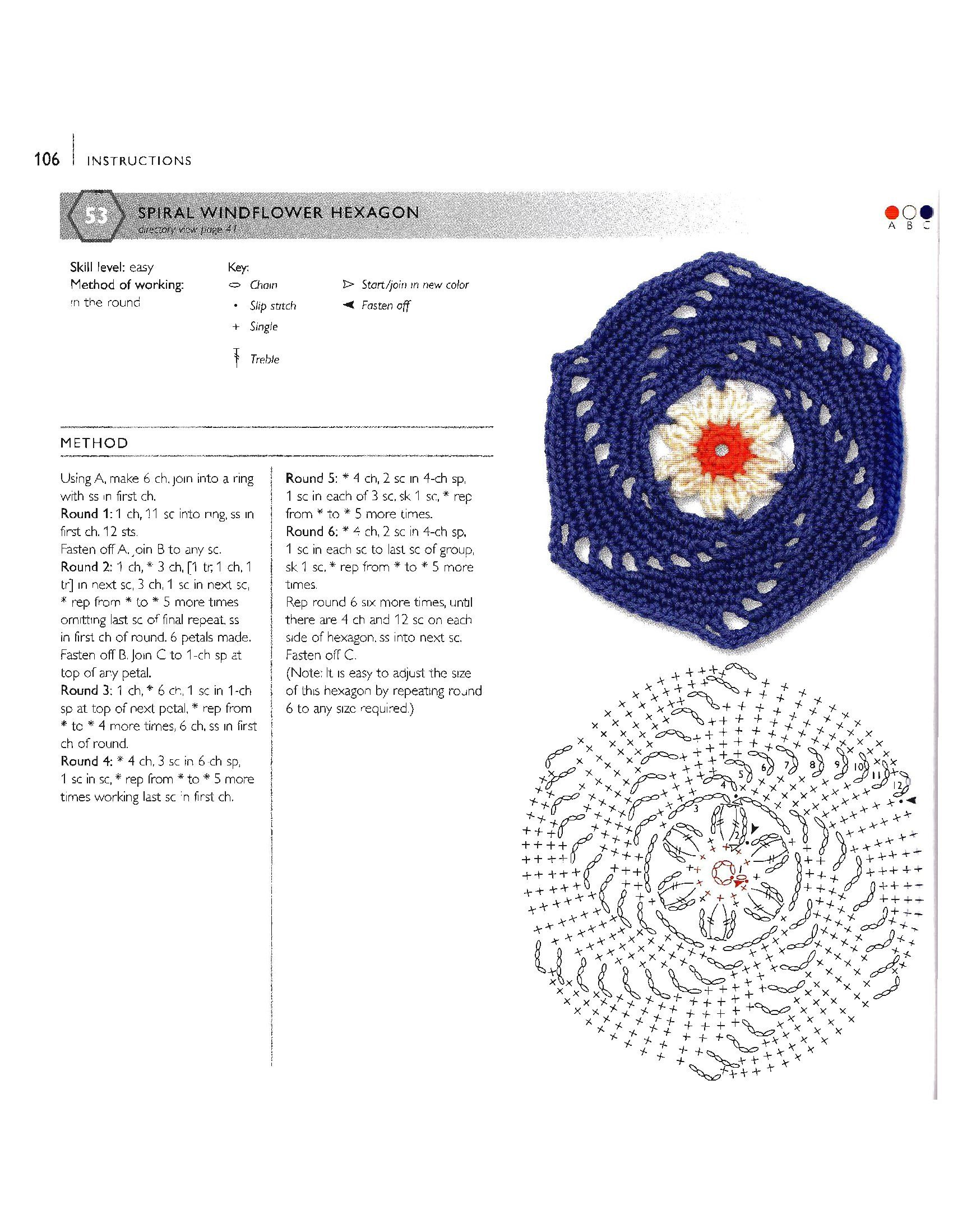 CROCHET SPIRAL WILDFLOWER HEXAGON GRANNY SQUARE WITH DIAGRAM AND ...