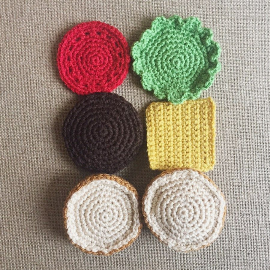 FREE easy crochet hamburger pattern with cheese, lettuce and tomato ...