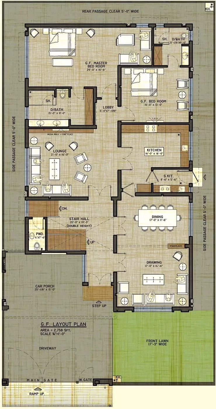 2400 Sq Ft House Plans 3d In 2020 Duplex Floor Plans 40x60 House Plans Model House Plan