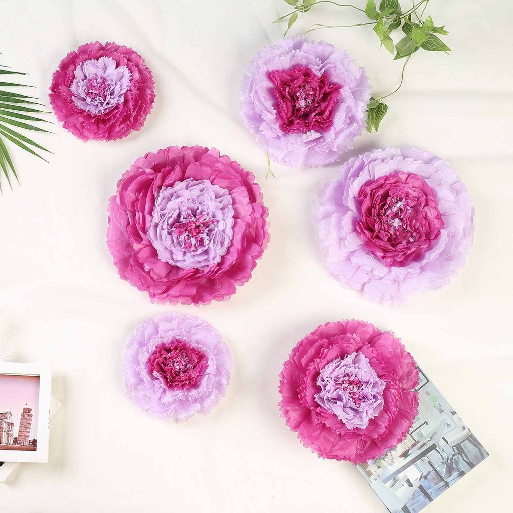 Pack Of 6 Lavender Multi Size Carnation 3d Giant Paper Flowers