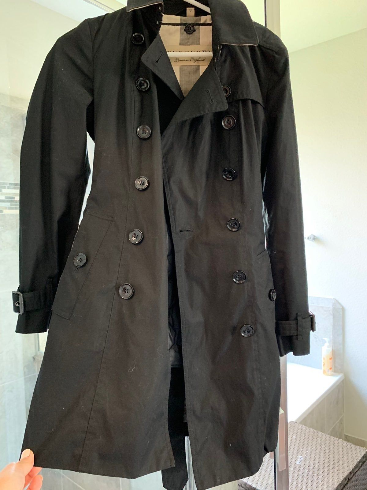Burberry Black Trench Coat Size 6 Double Layers Used In Great Condition Also Dry Cleaned Ready For Use Trench Coat Burberry Trench Burberry Trench Coat