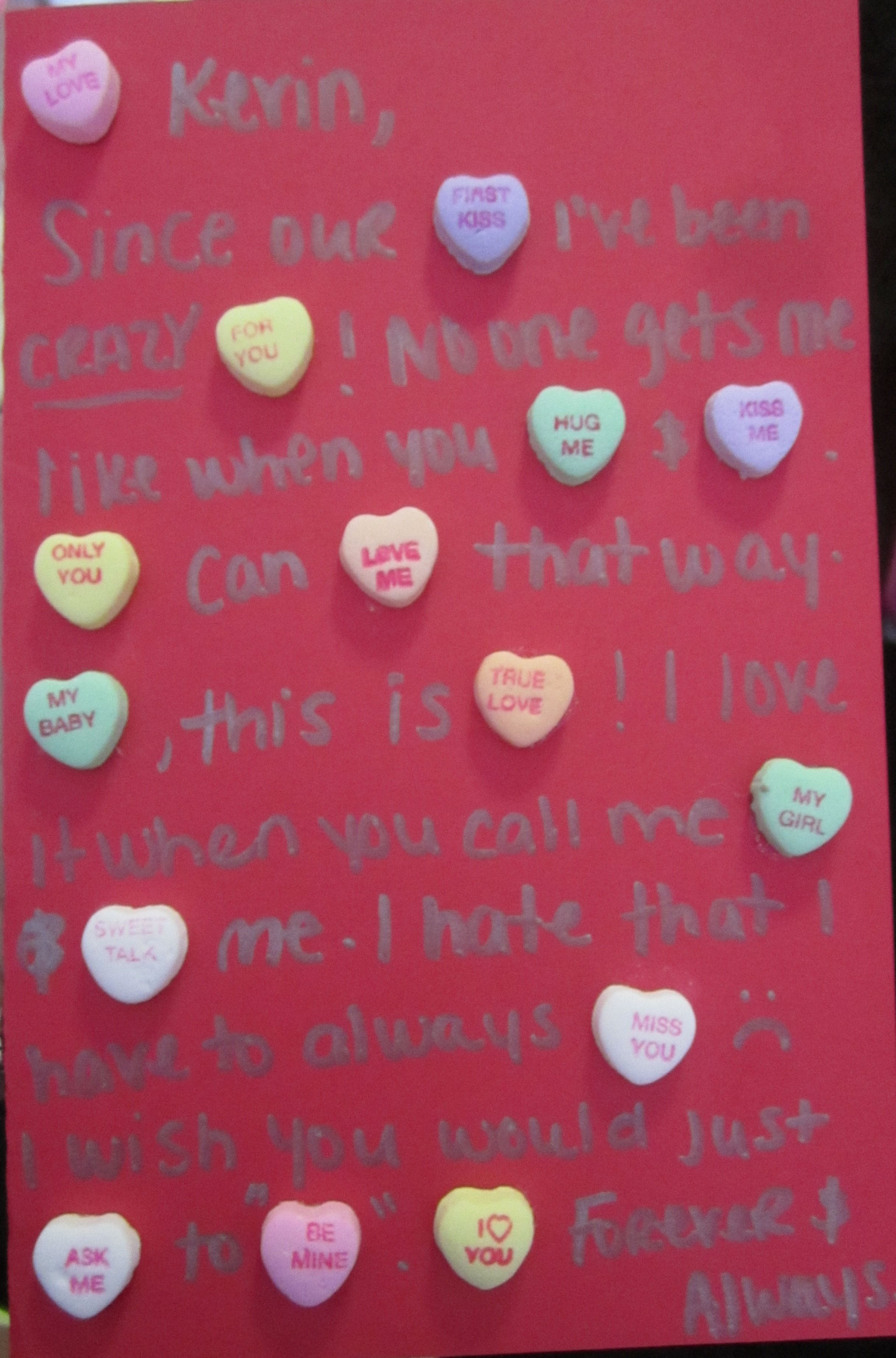 The card I made for my boyfriend for Valentines Day It says – Valentines Card for My Boyfriend