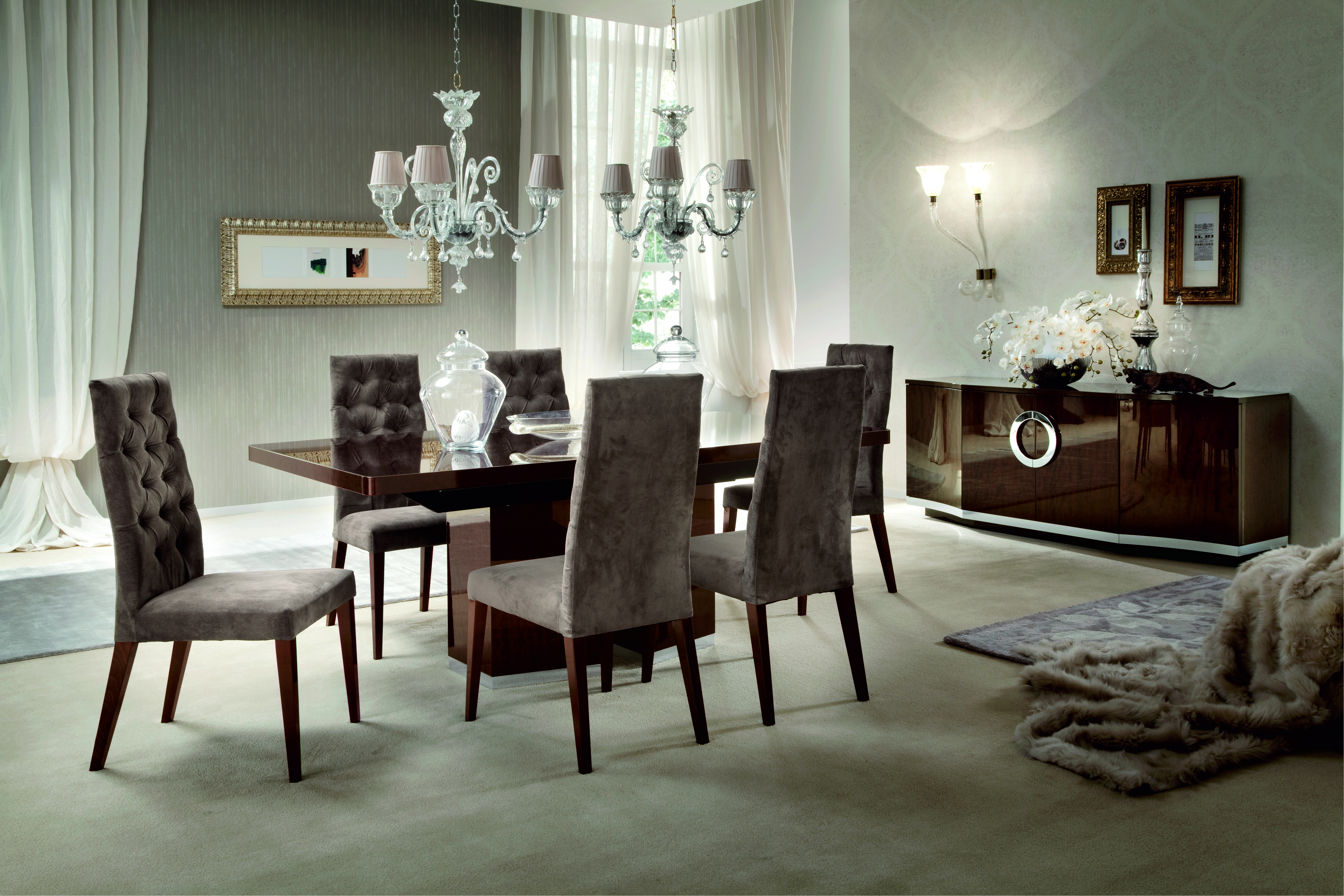 Home plisset italian designs clear glass dining table with aldo faux - Introducing One Of Italy S Newest And Richest Designs The Monaco Dining Set Is Presented In A High Gloss Velvet Birch Finish Inlaid With Chrome M