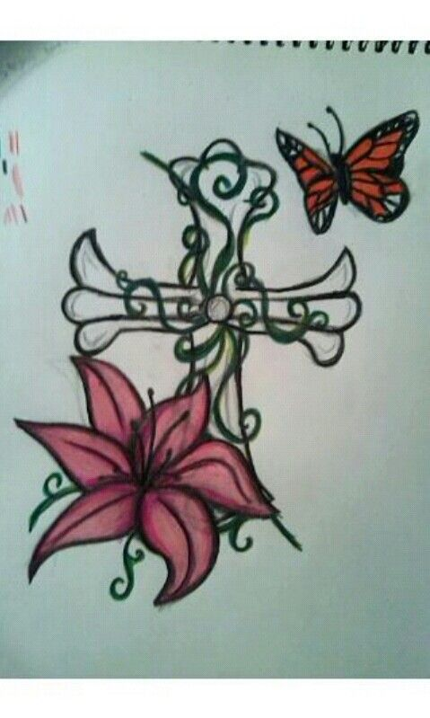 Cross Lilly Flower Butterfly With A Rose Tiger Lily Tattoos Tattoos Lily Tattoo