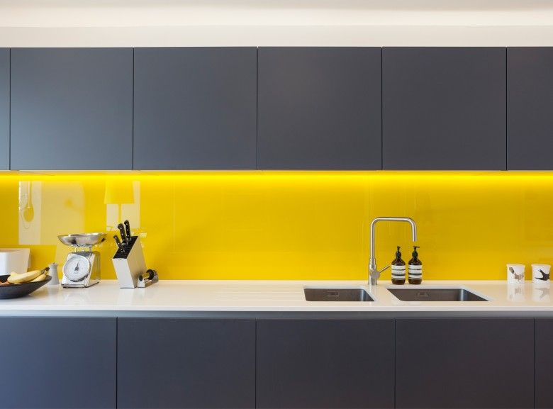 Mustard yellow splashback with slate grey cupboards hoh for Grey yellow kitchen ideas