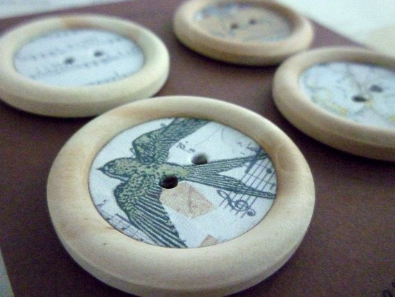 Wood and Paper Buttons   Butterfly and Bird Music by heartsupplies perfect for your card making or scrapbook projects, or folk art