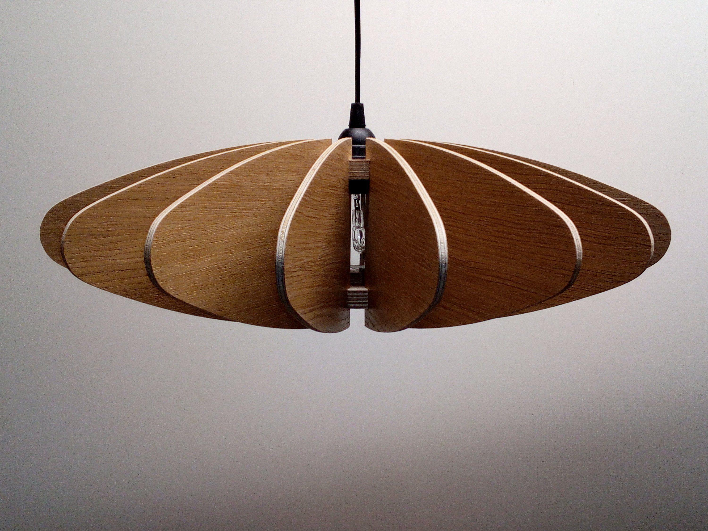 50cm Luminaire Lampe Suspension Abat Jour Fifties Wood