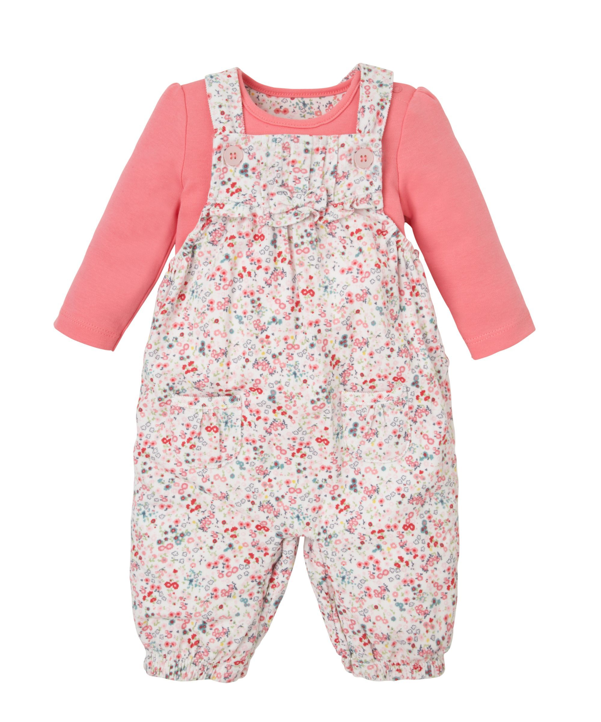 862efcd1c Floral Cord Dungarees and Bodysuit- Mothercare